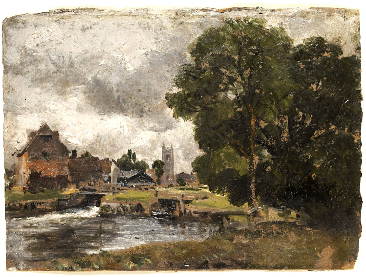constable mill pond; oil paint on paper